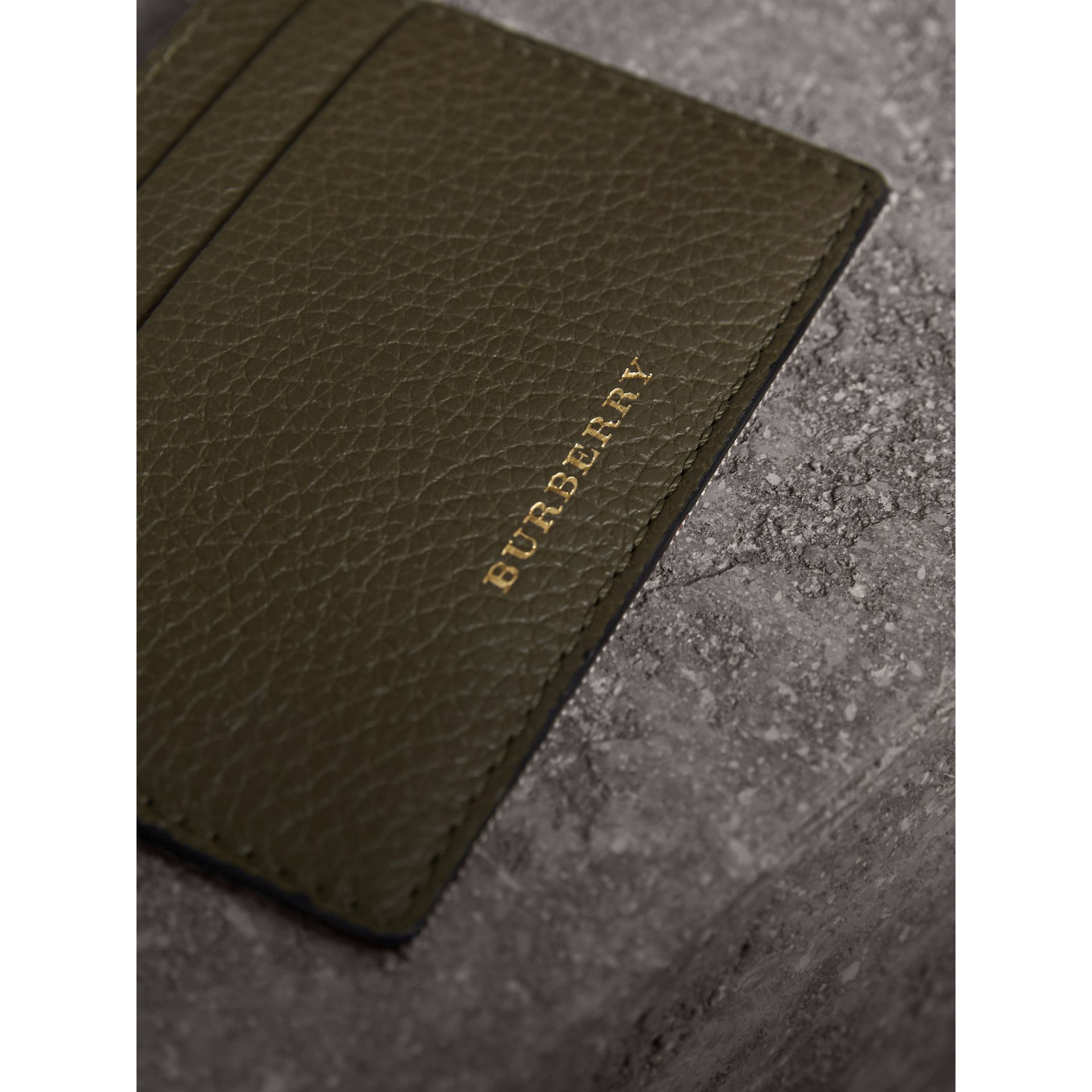 House Check and Grainy Leather Card Case in Sage - Men | Burberry - gallery image 2
