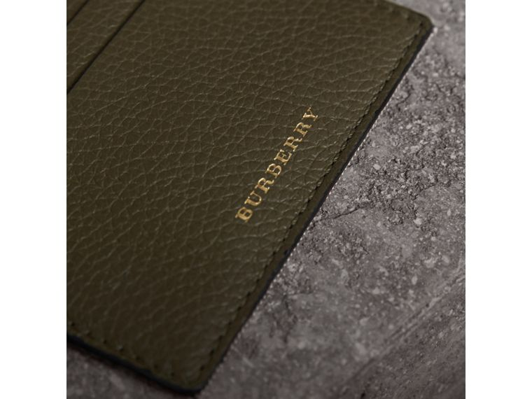 House Check and Grainy Leather Card Case in Sage - Men | Burberry - cell image 1