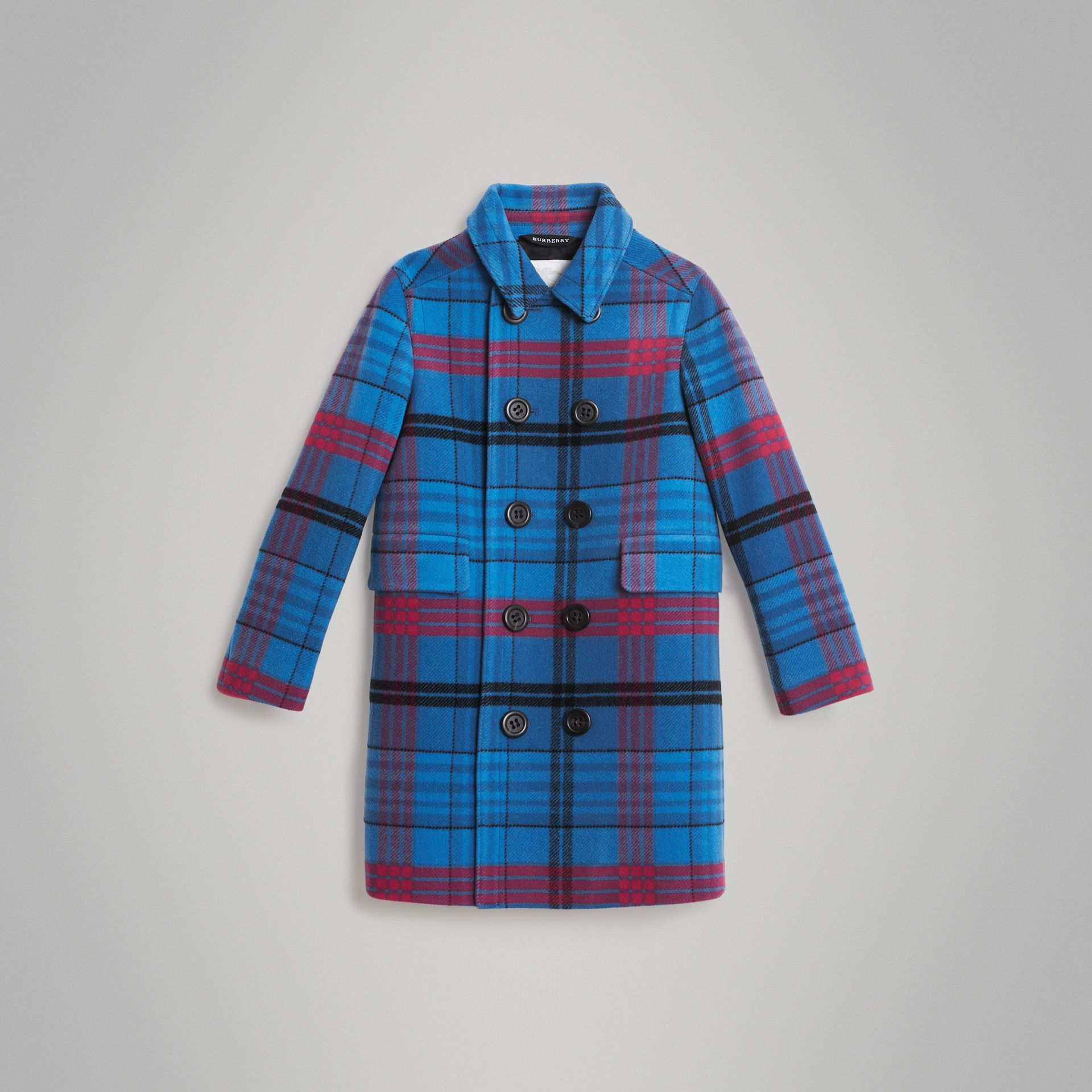 Check Wool Tailored Coat in Mineral Blue | Burberry United Kingdom - gallery image 0