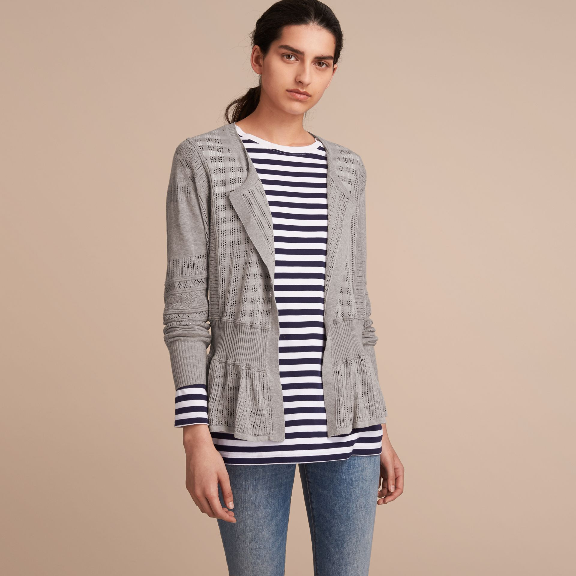 Multi-stitch Linen Silk Open Cardigan - Women | Burberry Australia - gallery image 6