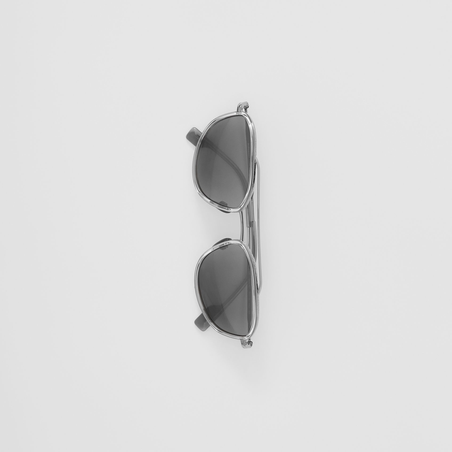 Geometric Navigator Sunglasses in Gunmetal Grey - Men | Burberry United Kingdom - gallery image 3