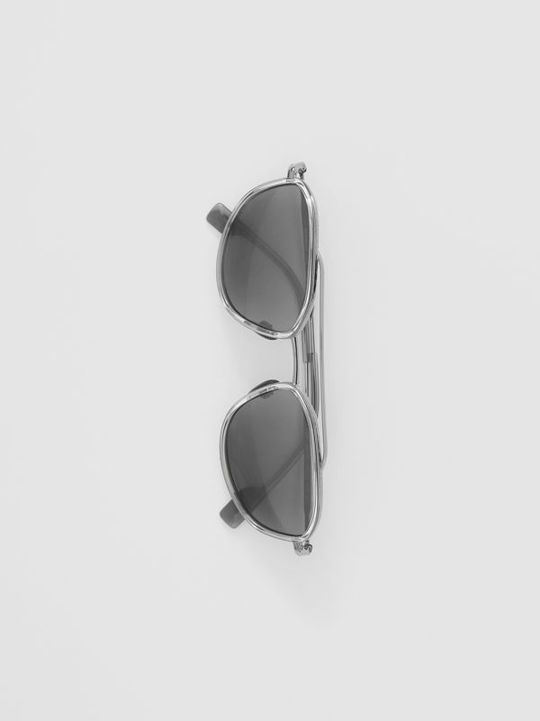 Geometric Navigator Sunglasses in Gunmetal Grey - Men | Burberry United Kingdom - cell image 3
