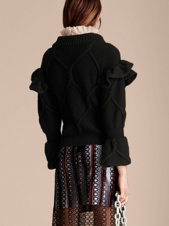 Black Cable Knit Wool Cashmere Sweater with Ruffle Bell Sleeves Black - cell image 2