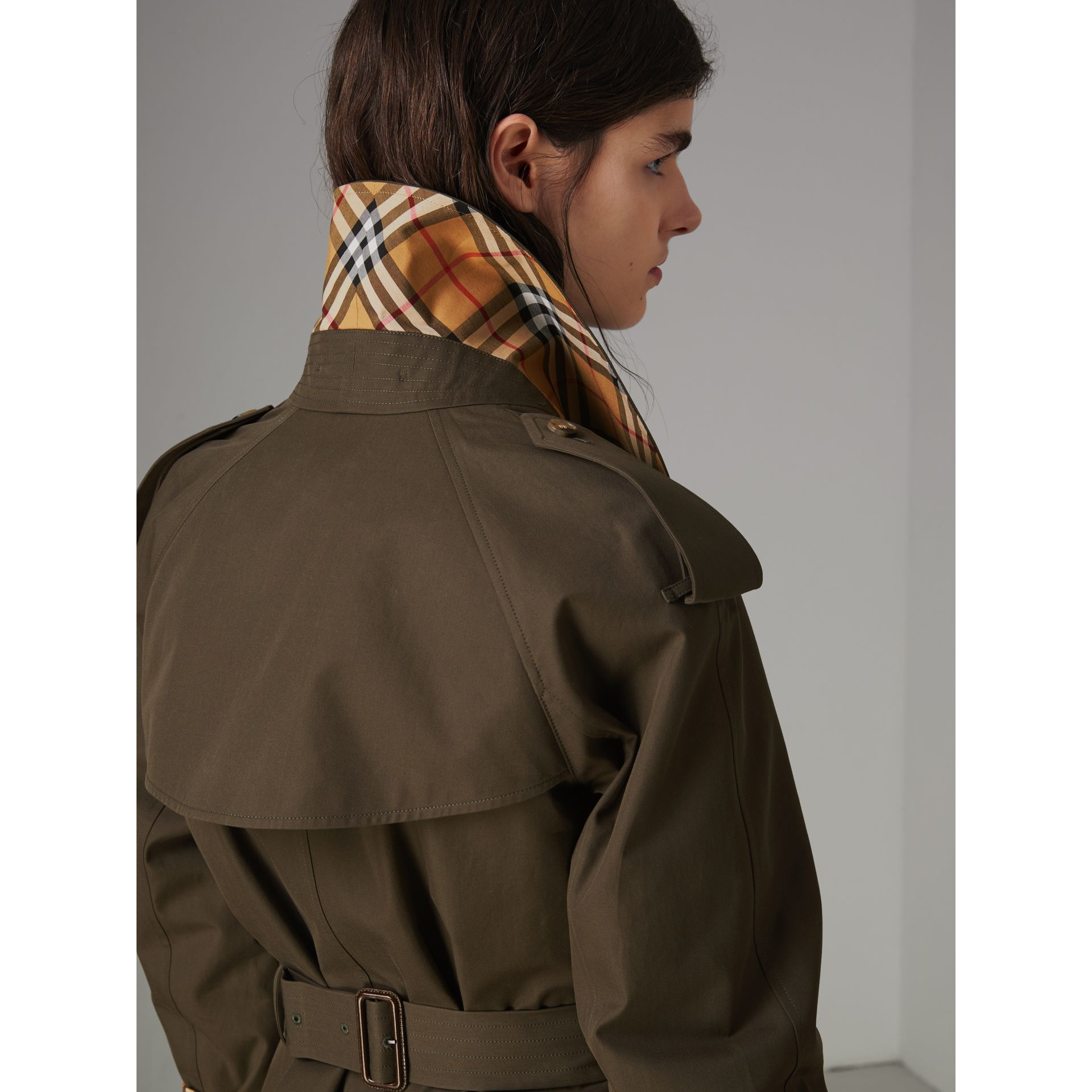 Collegiate Stripe Cotton Gabardine Trench Coat in Olive - Women | Burberry - gallery image 5