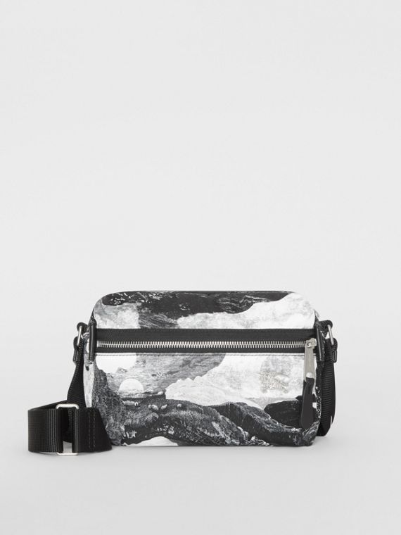 EKD Dreamscape Print Aviator Nylon Crossbody Bag in Black/white