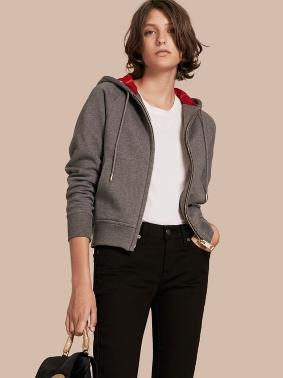 Hooded Zip-front Cotton Blend Sweatshirt in Mid Grey Melange
