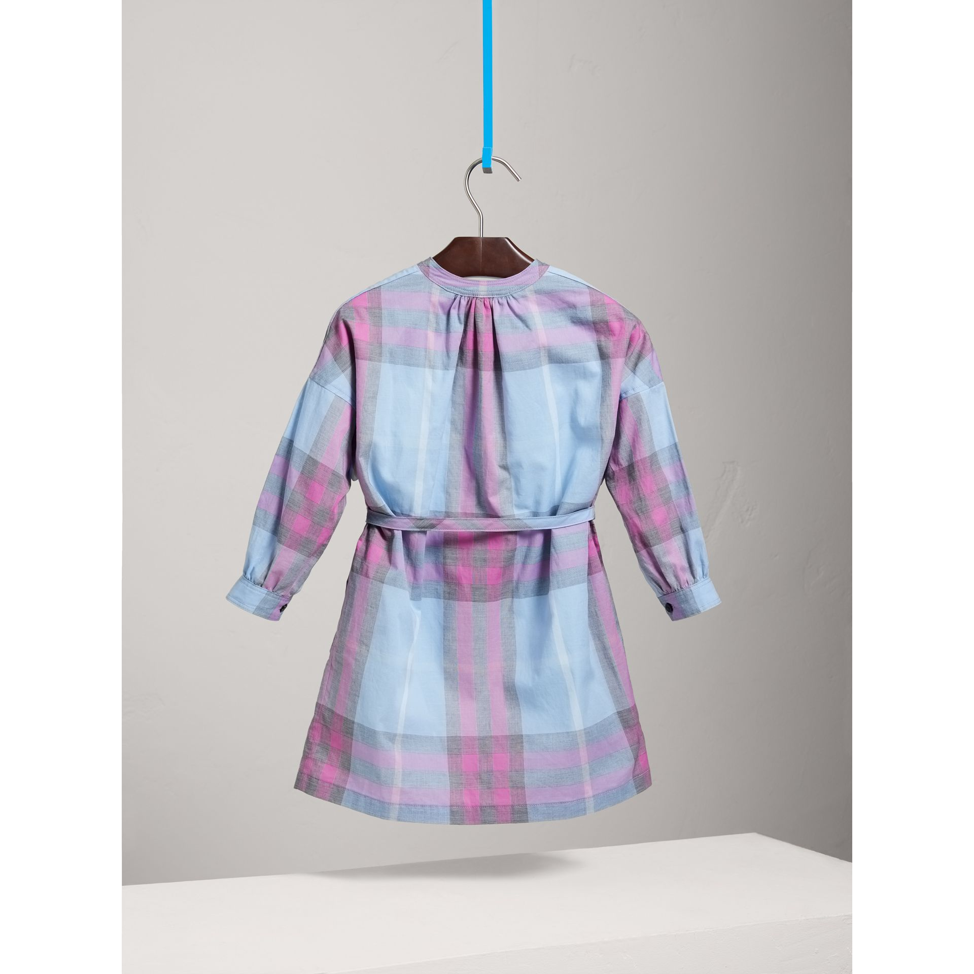 Check Cotton Shirt Dress in Chalk Blue - Girl | Burberry - gallery image 4
