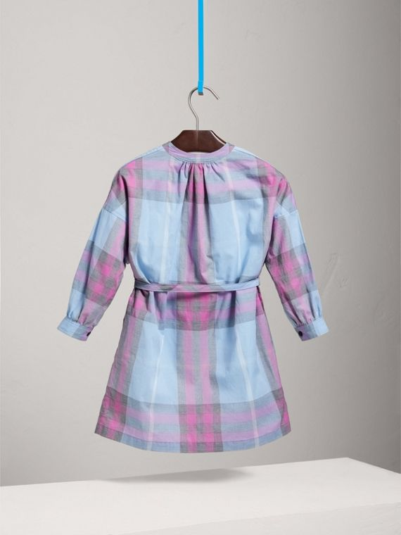 Check Cotton Shirt Dress in Chalk Blue - Girl | Burberry - cell image 3