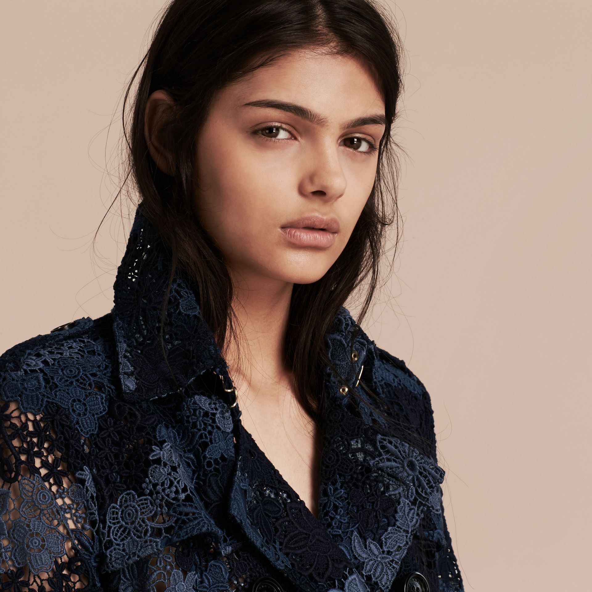 Ink blue Floral Italian Macramé Lace Trench Coat - gallery image 5