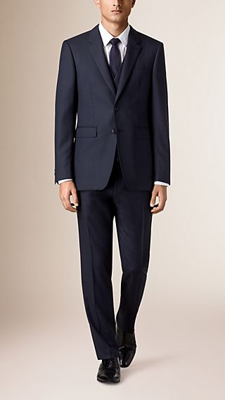 Modern Fit Wool Half-canvas Three-piece Suit