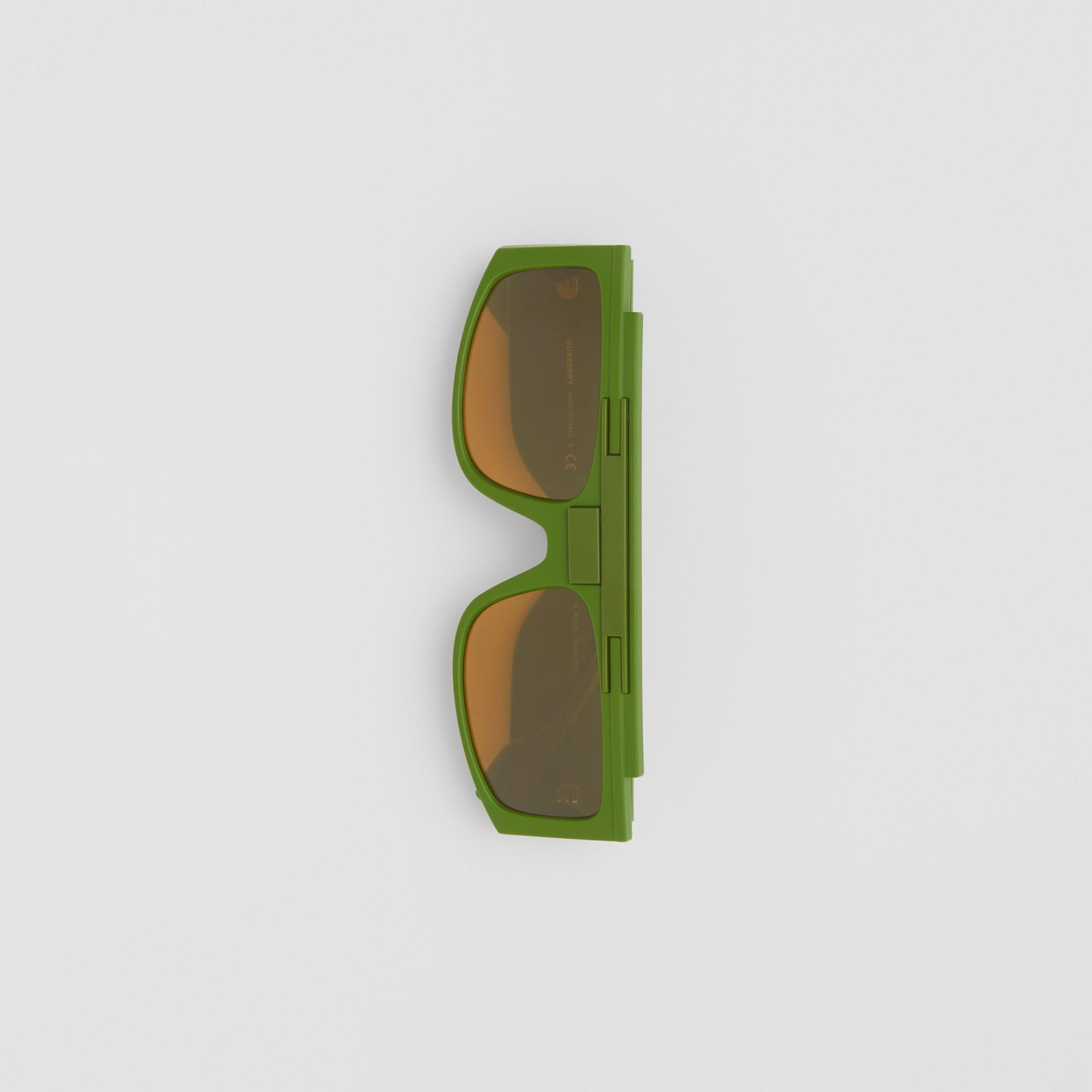 Rectangular Frame Sunglasses in Green - Women | Burberry - gallery image 3