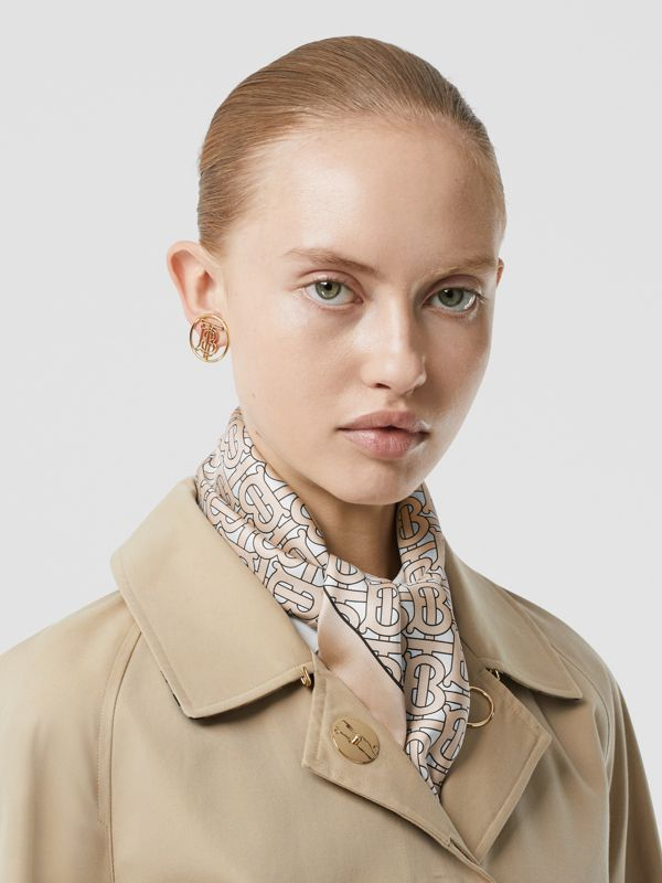 Monogram Print Silk Square Scarf in Pale Camel | Burberry - cell image 2
