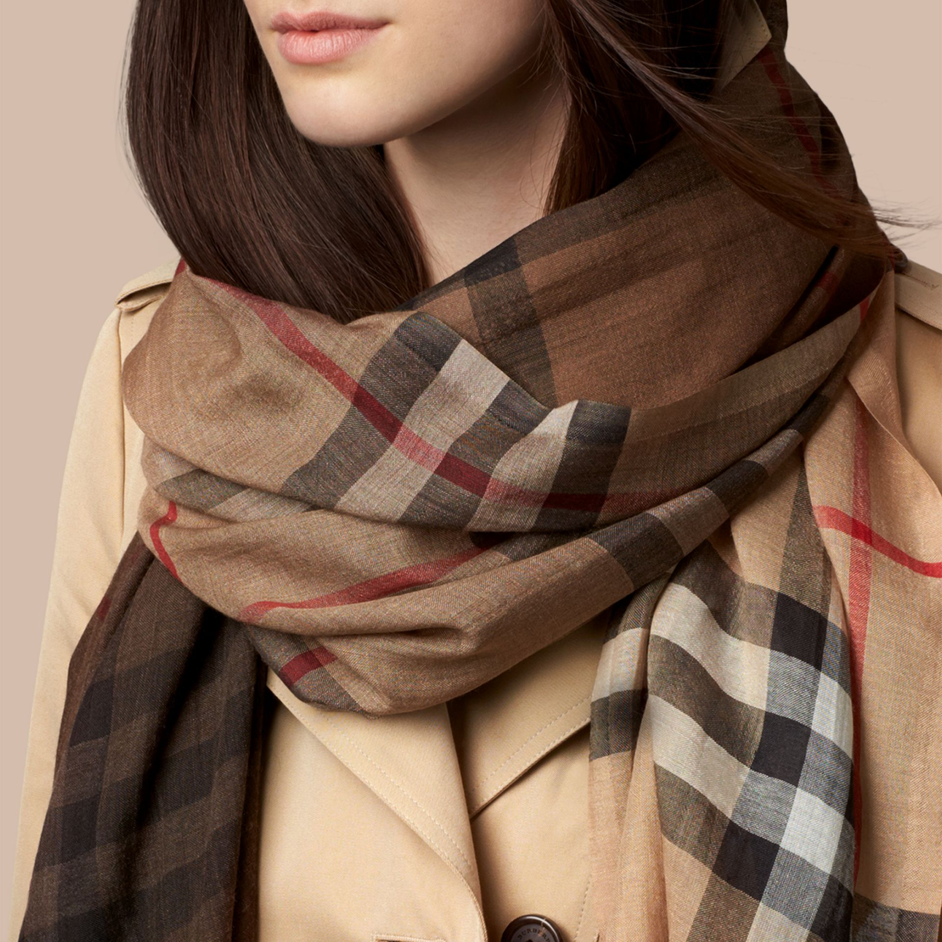 Camel check Ombré Check Lightweight Wool Silk Scarf - gallery image 3