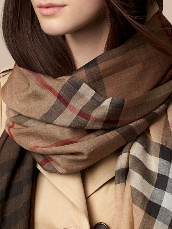 Camel check Ombré Check Lightweight Wool Silk Scarf - cell image 2