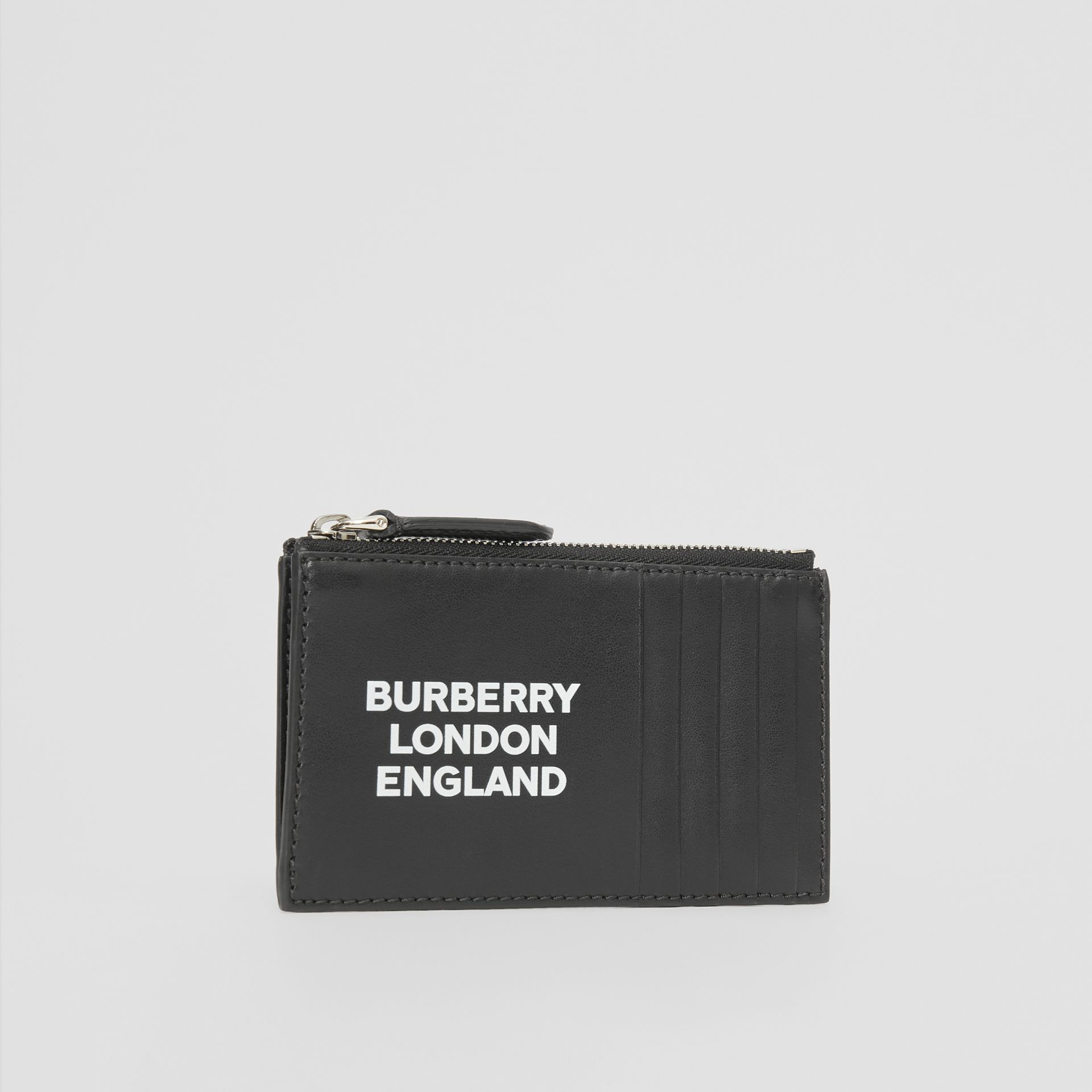 Logo Print Leather Zip Card Case in Black - Men | Burberry Canada - gallery image 3