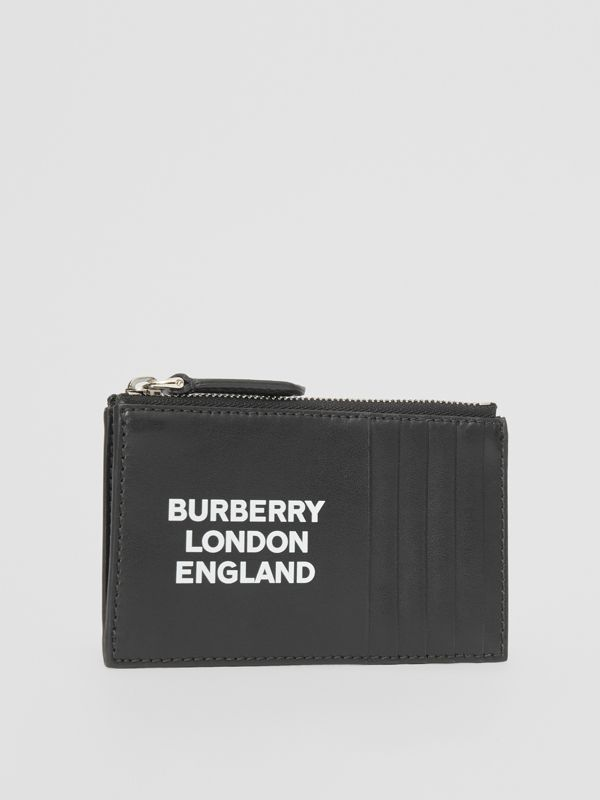 Logo Print Leather Zip Card Case in Black - Men | Burberry - cell image 3