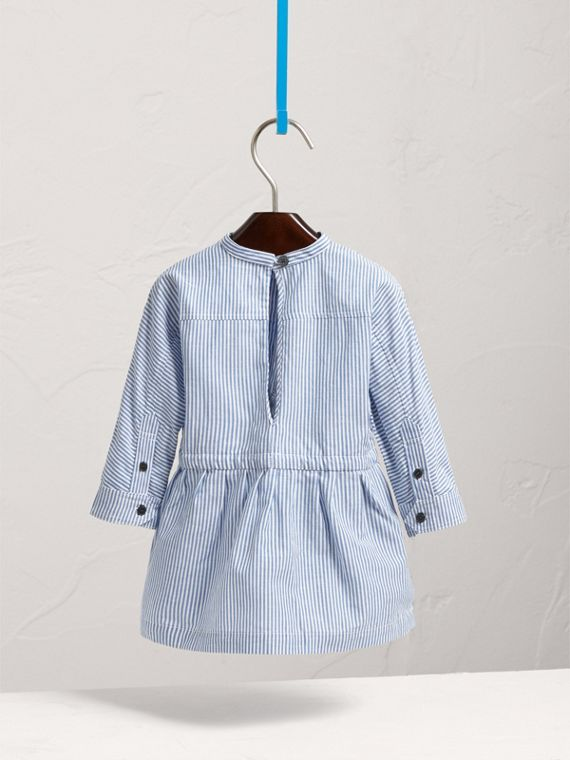 London Icons Appliqué Cotton Linen Shirt Dress in Pale Blue/white | Burberry - cell image 3