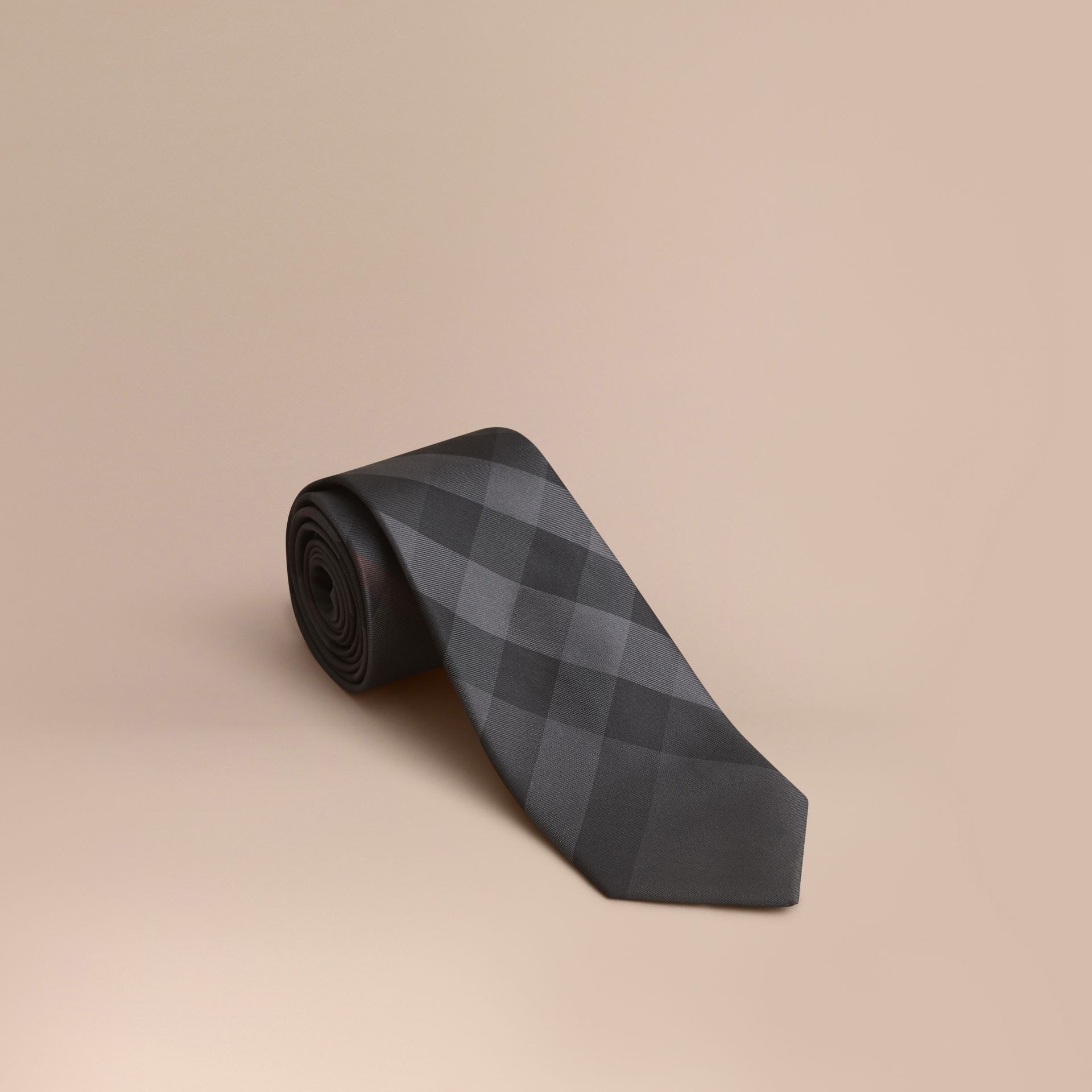 Modern Cut Check Silk Tie Charcoal - gallery image 1