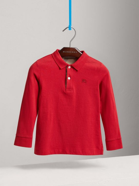 Long-sleeve Cotton Jersey Polo Shirt in Military Red - Boy | Burberry - cell image 2