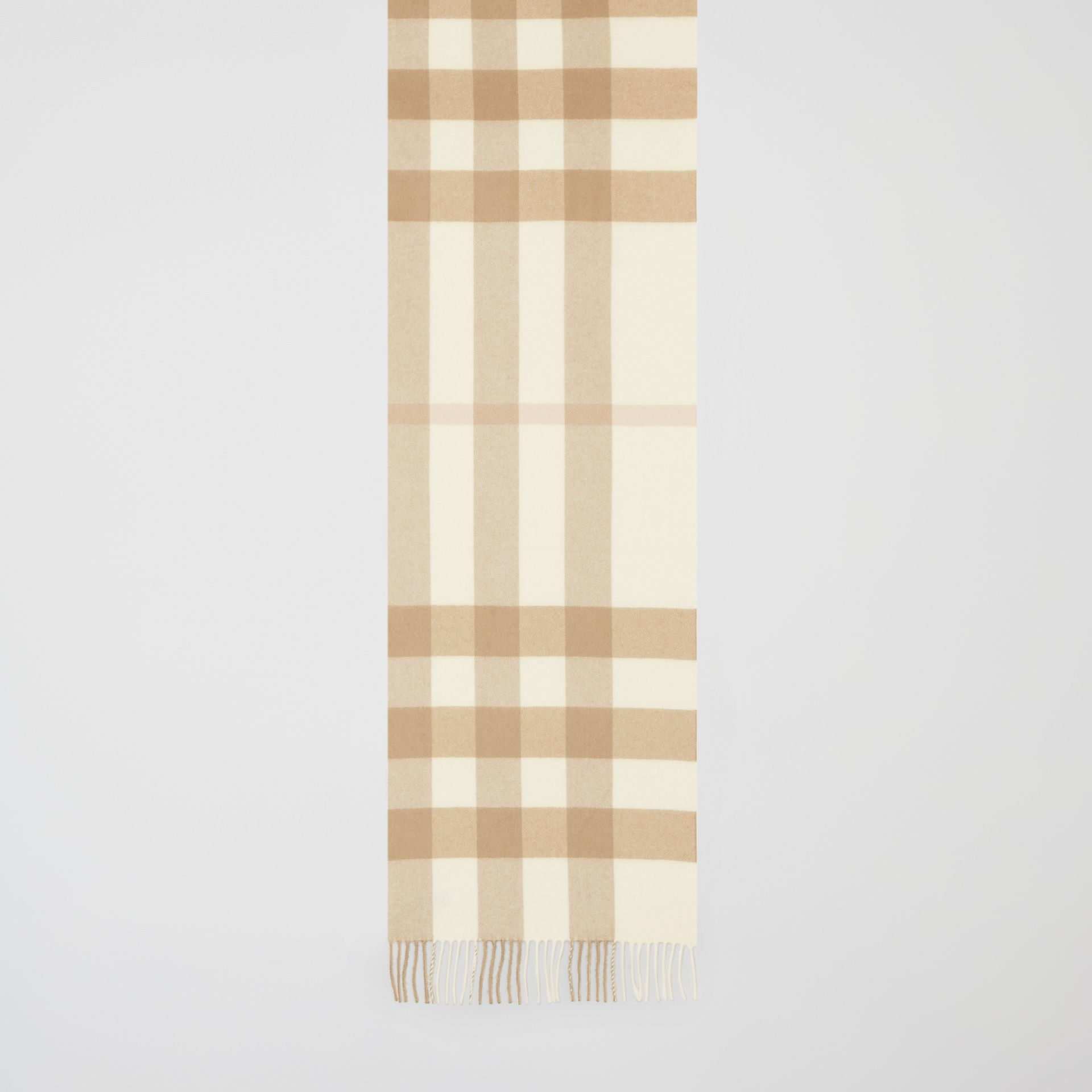Check Cashmere Scarf in White | Burberry - gallery image 3