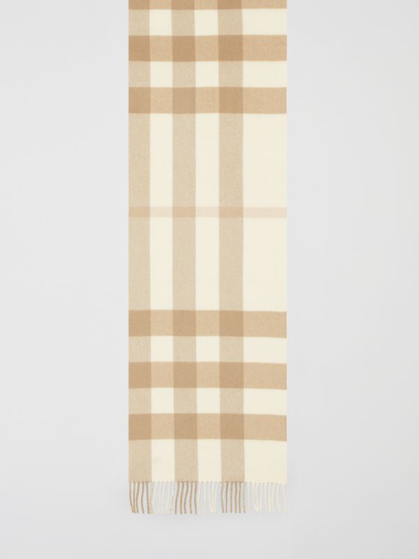 Check Cashmere Scarf in White | Burberry - cell image 3