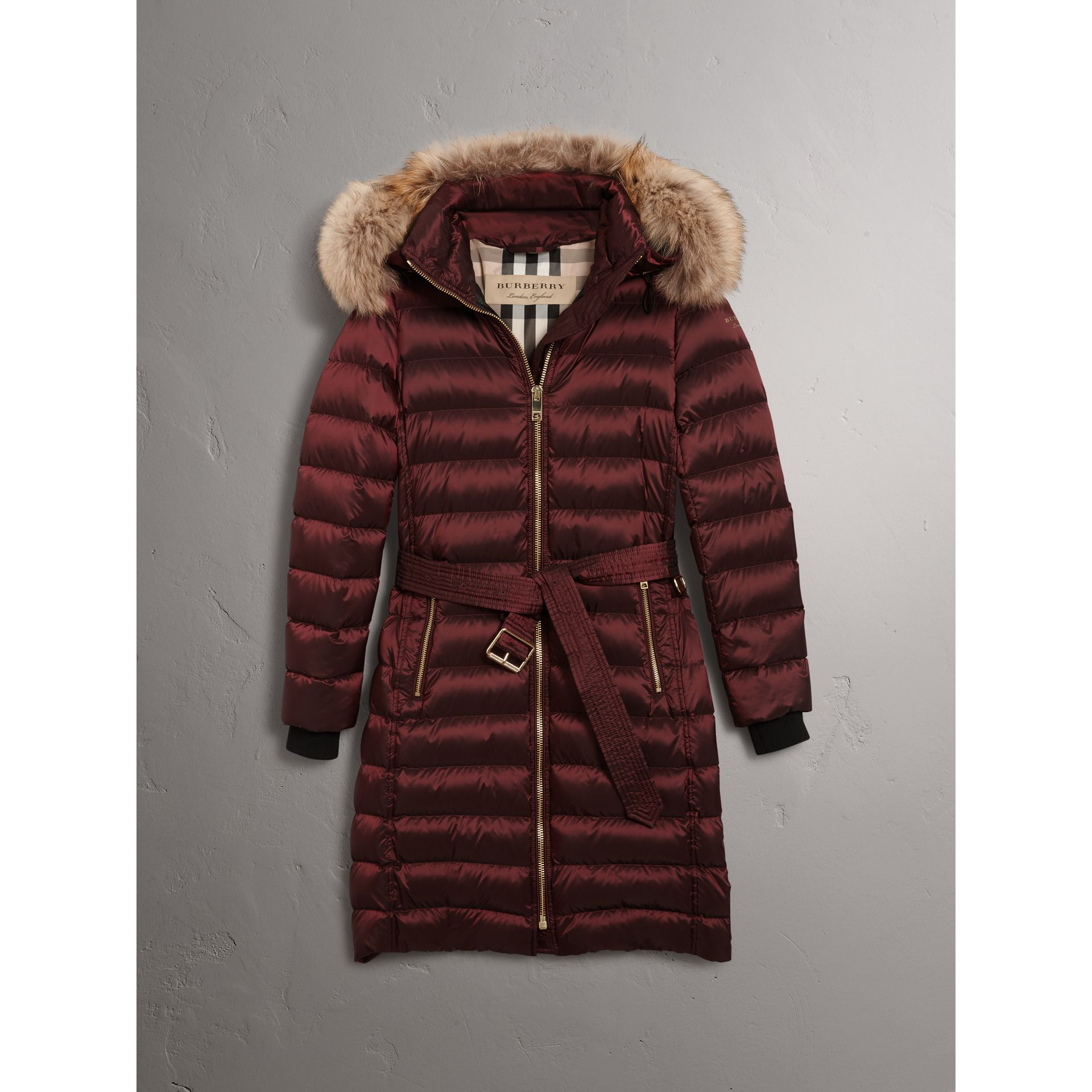 Detachable Fur Trim Down-filled Puffer Coat with Hood in Burgundy - Women | Burberry Australia - gallery image 3