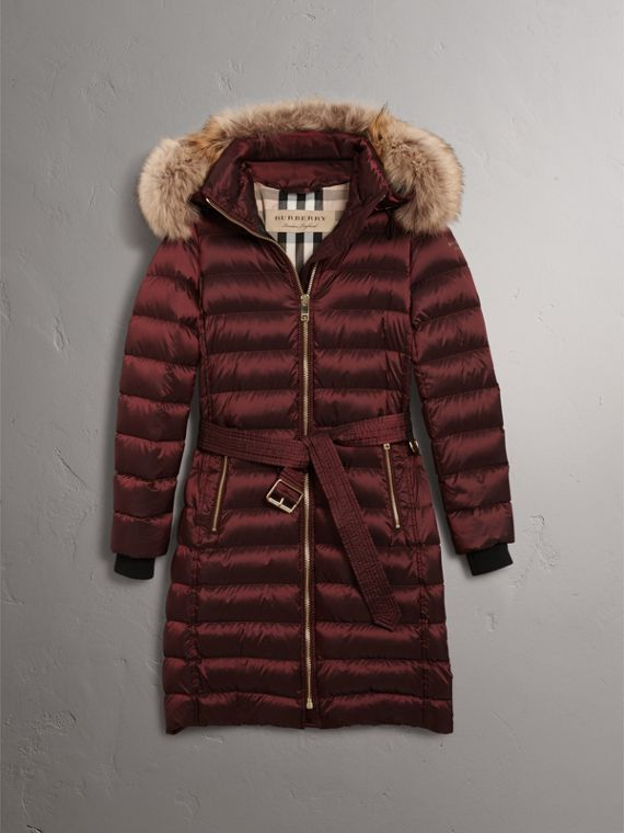 Detachable Fur Trim Down-filled Puffer Coat with Hood in Burgundy - Women | Burberry Australia - cell image 3