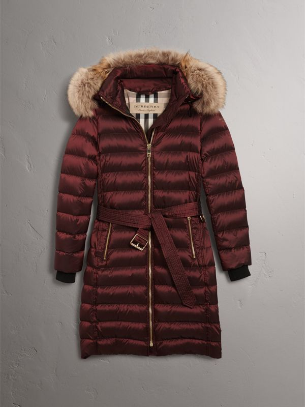 Detachable Fur Trim Down-filled Puffer Coat with Hood in Burgundy - Women | Burberry - cell image 3