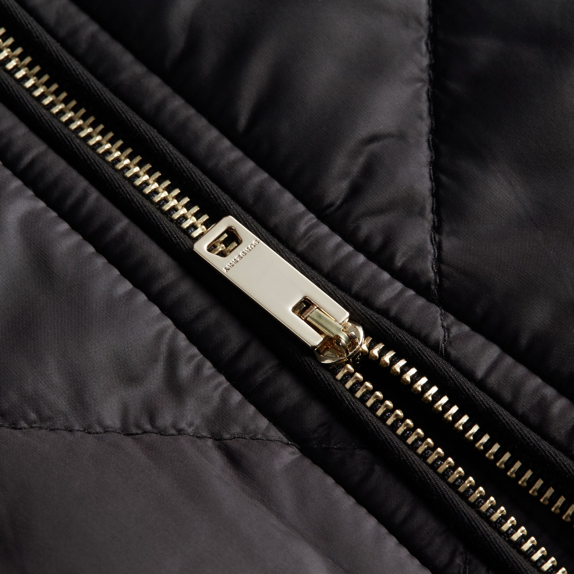 Collarless Diamond Quilted Lightweight Jacket in Black - Women | Burberry - gallery image 2