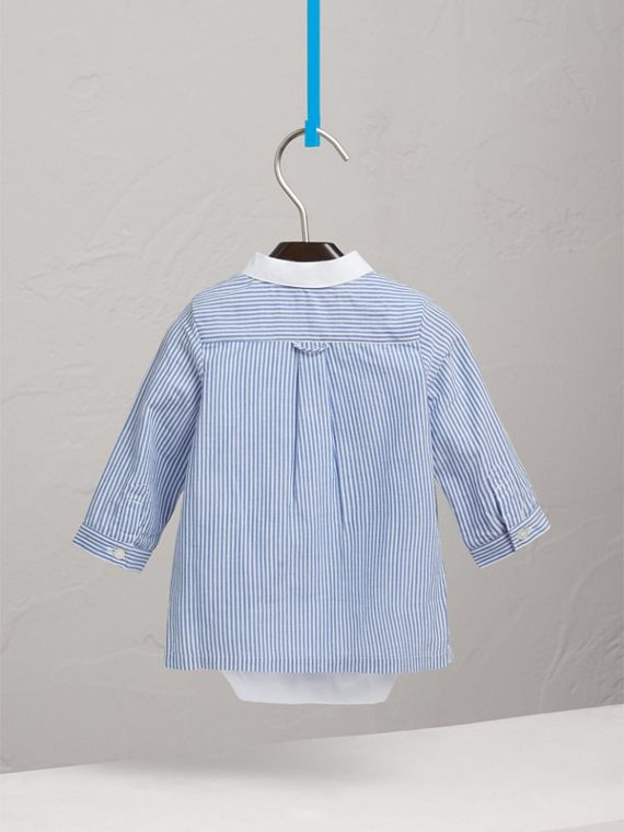 Pintuck Bib Striped Cotton Linen Bodysuit in Pale Blue/white | Burberry - cell image 3