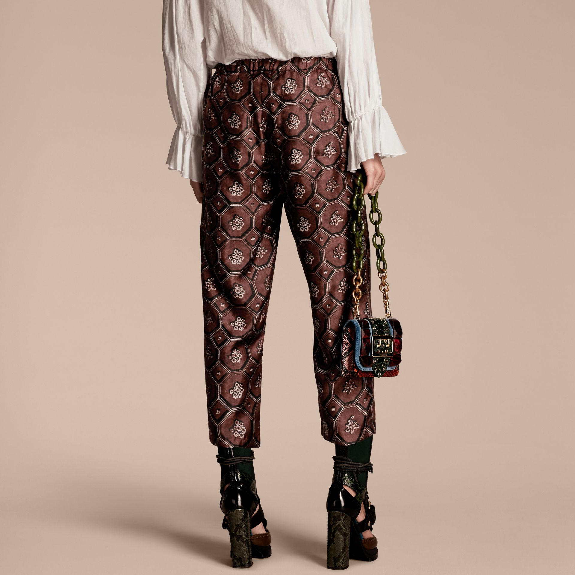 Geometric Wallpaper Print Silk Twill Cropped Pyjama-style Trousers Deep Claret - gallery image 3