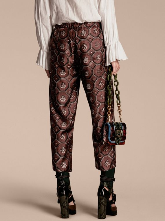 Deep claret Geometric Wallpaper Print Silk Twill Cropped Pyjama-style Trousers Deep Claret - cell image 2