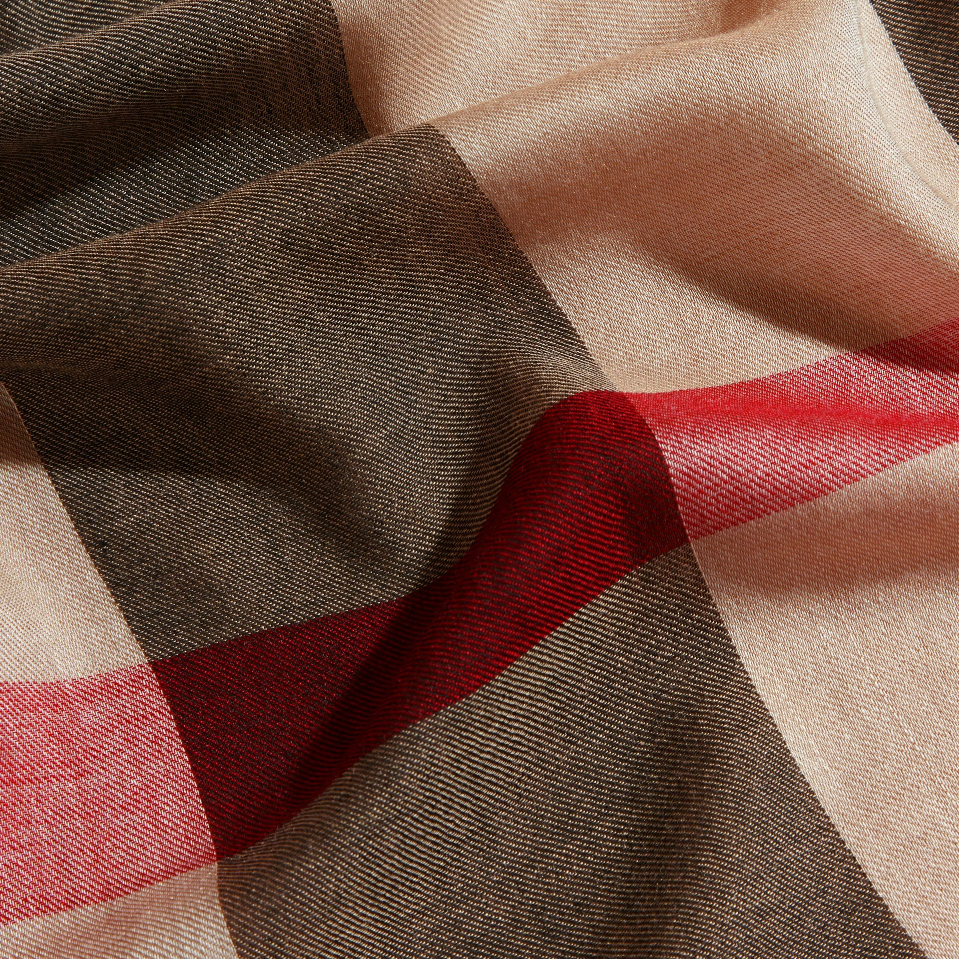 Large Lightweight Check Silk Modal Wool Square Scarf in Camel | Burberry - gallery image 2