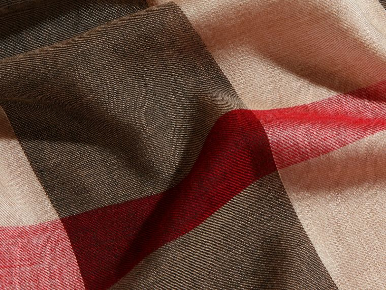 Large Lightweight Check Silk Modal Wool Square Scarf in Camel | Burberry - cell image 1