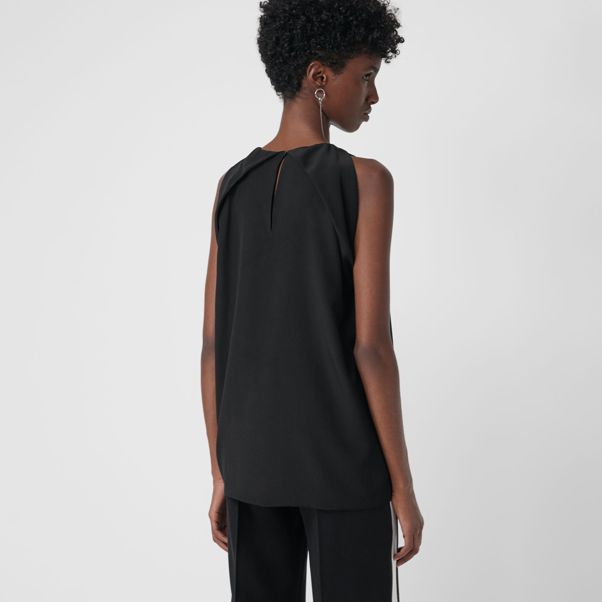 Sleeveless Panelled Silk Top in Black - Women | Burberry - gallery image 2