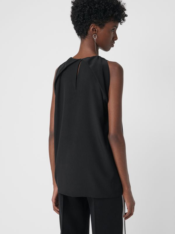 Sleeveless Panelled Silk Top in Black - Women | Burberry - cell image 2