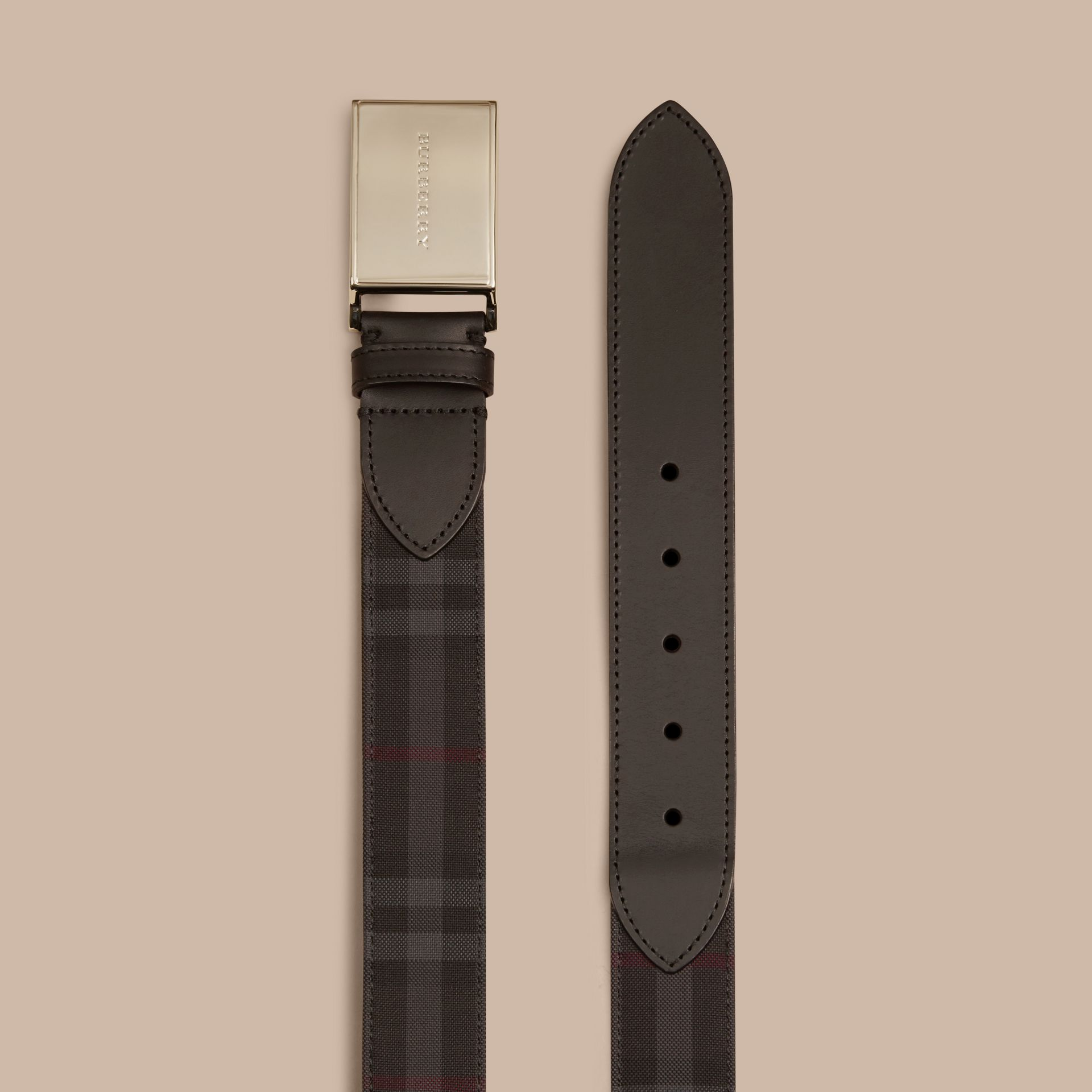 Horseferry Check and Leather Belt in Charcoal/black - Men | Burberry - gallery image 3