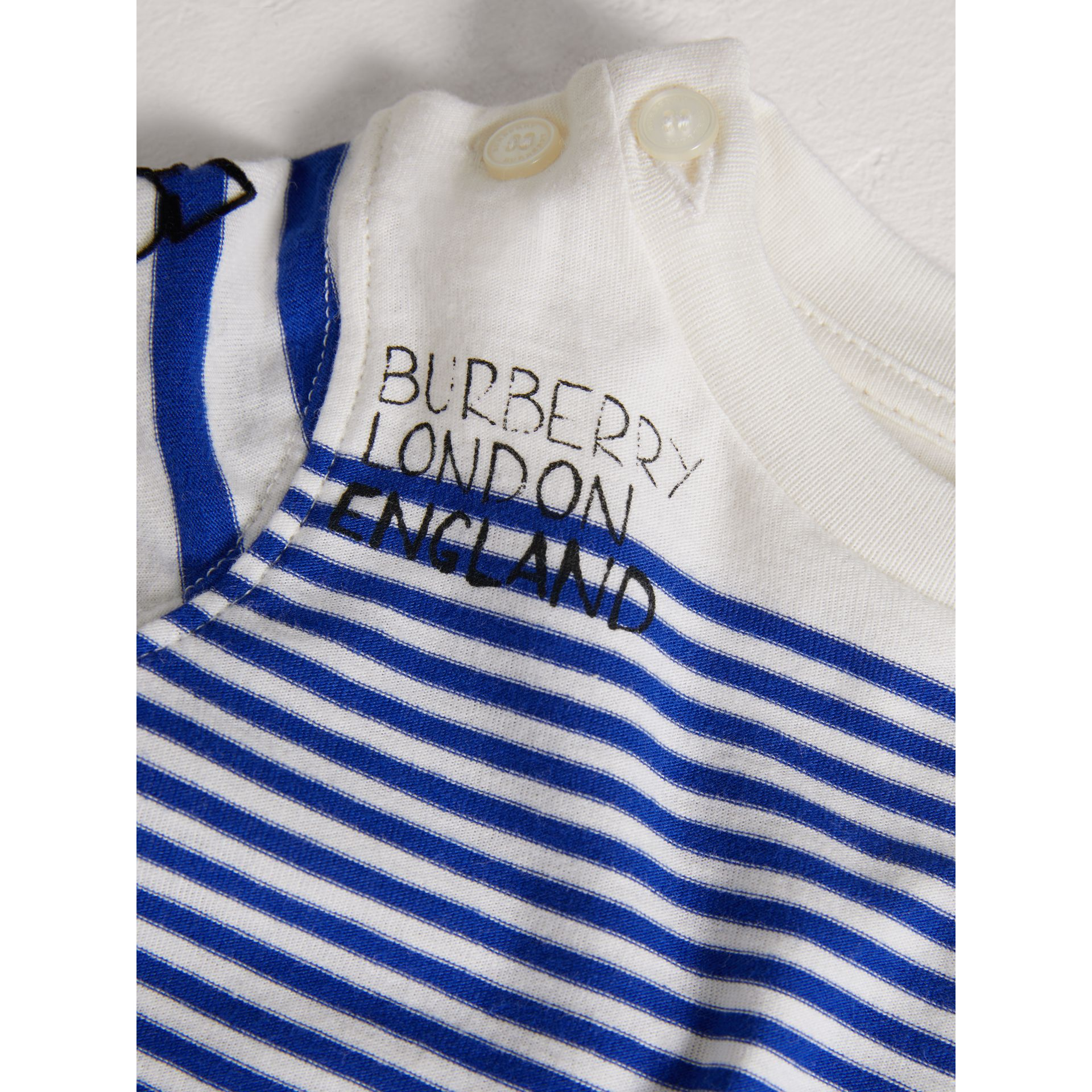 SW1 Print Striped Cotton Jersey Bodysuit in Bright Lapis/natural White - Children | Burberry Australia - gallery image 1