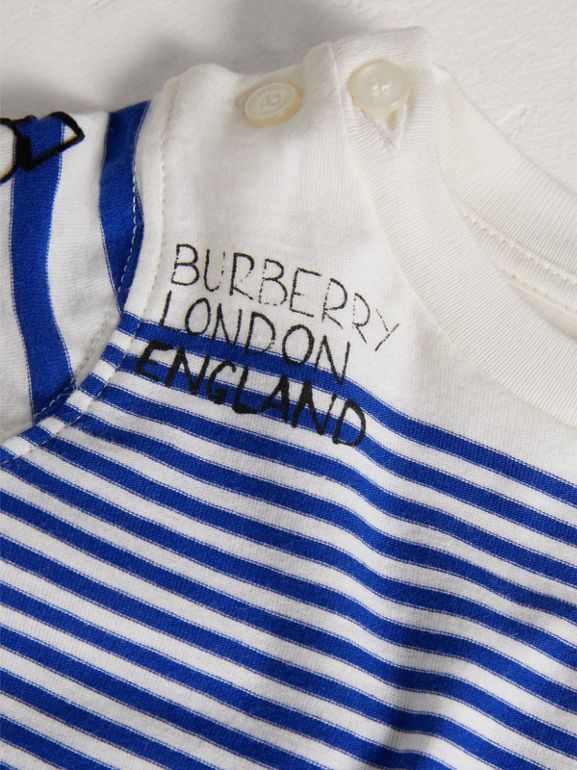 SW1 Print Striped Cotton Jersey Bodysuit in Bright Lapis/natural White - Children | Burberry - cell image 1