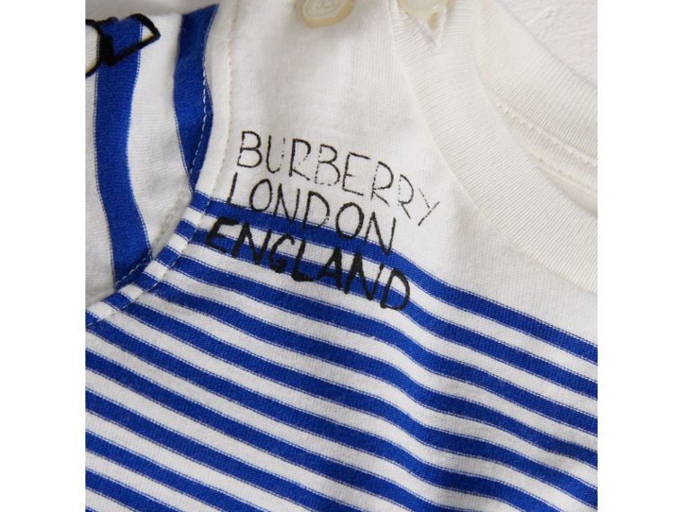 SW1 Print Striped Cotton Jersey Bodysuit in Bright Lapis/natural White | Burberry - cell image 1