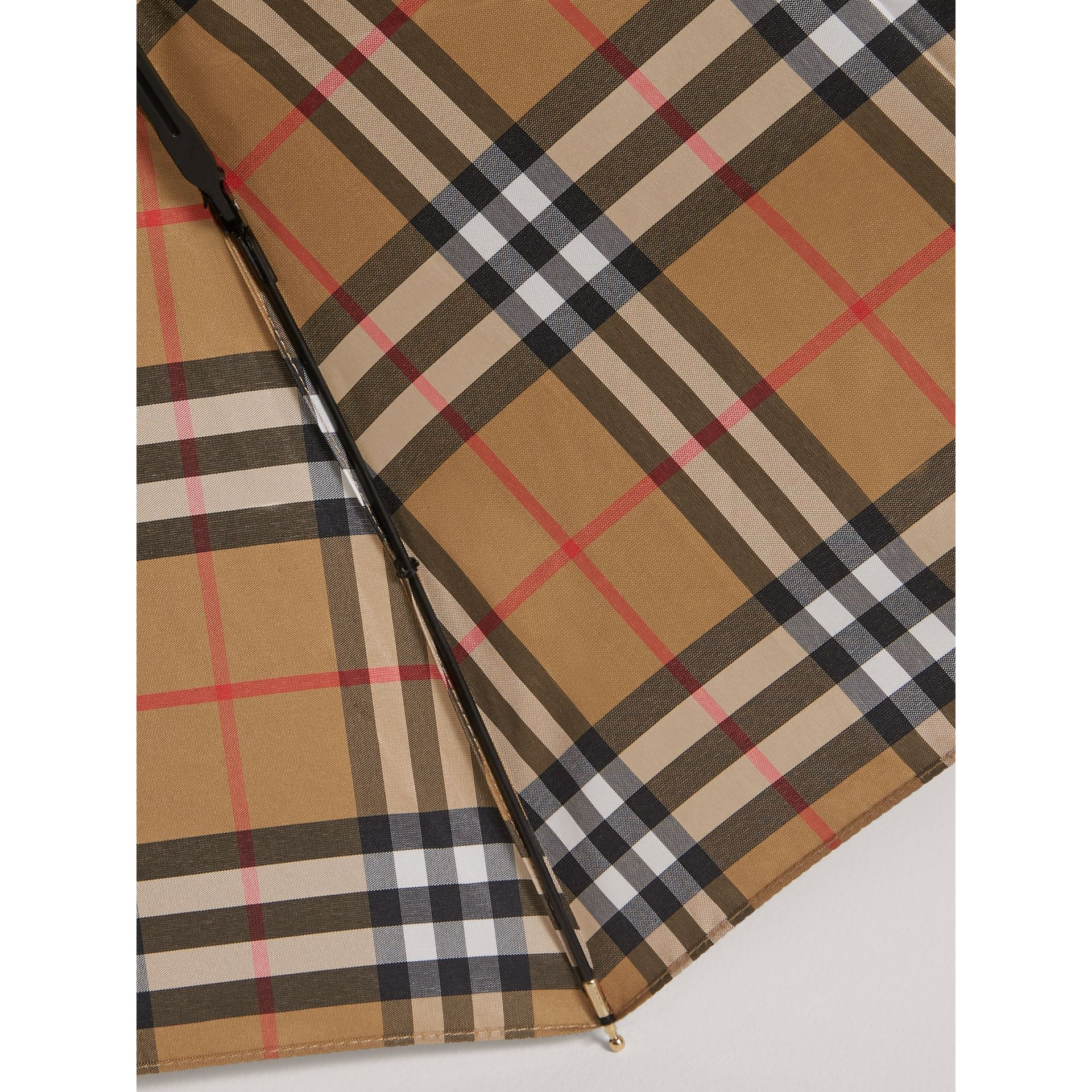 Vintage Check Folding Umbrella in Antique Yellow | Burberry Canada - gallery image 2
