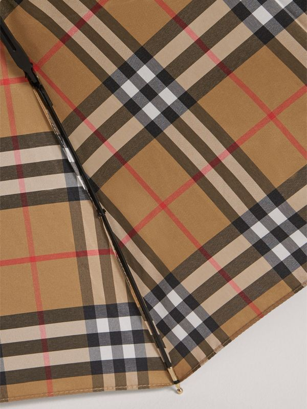 Vintage Check Folding Umbrella in Antique Yellow | Burberry - cell image 2