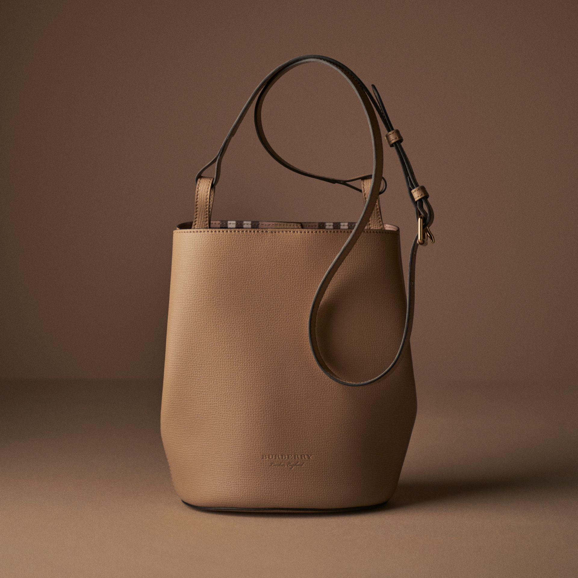 Leather and Haymarket Check Crossbody Bucket Bag in Mid Camel - Women | Burberry - gallery image 8