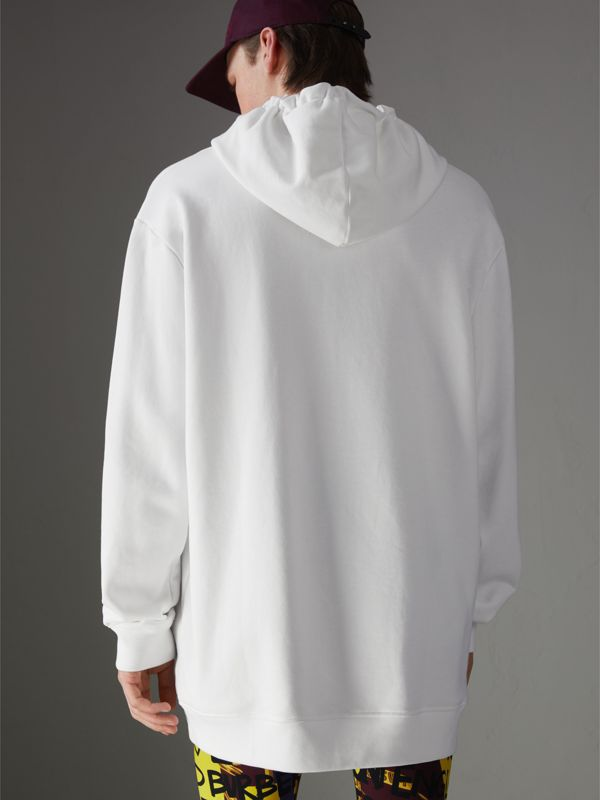 Ticket Print Pocket Cotton Jersey Hoodie in White - Men | Burberry - cell image 2
