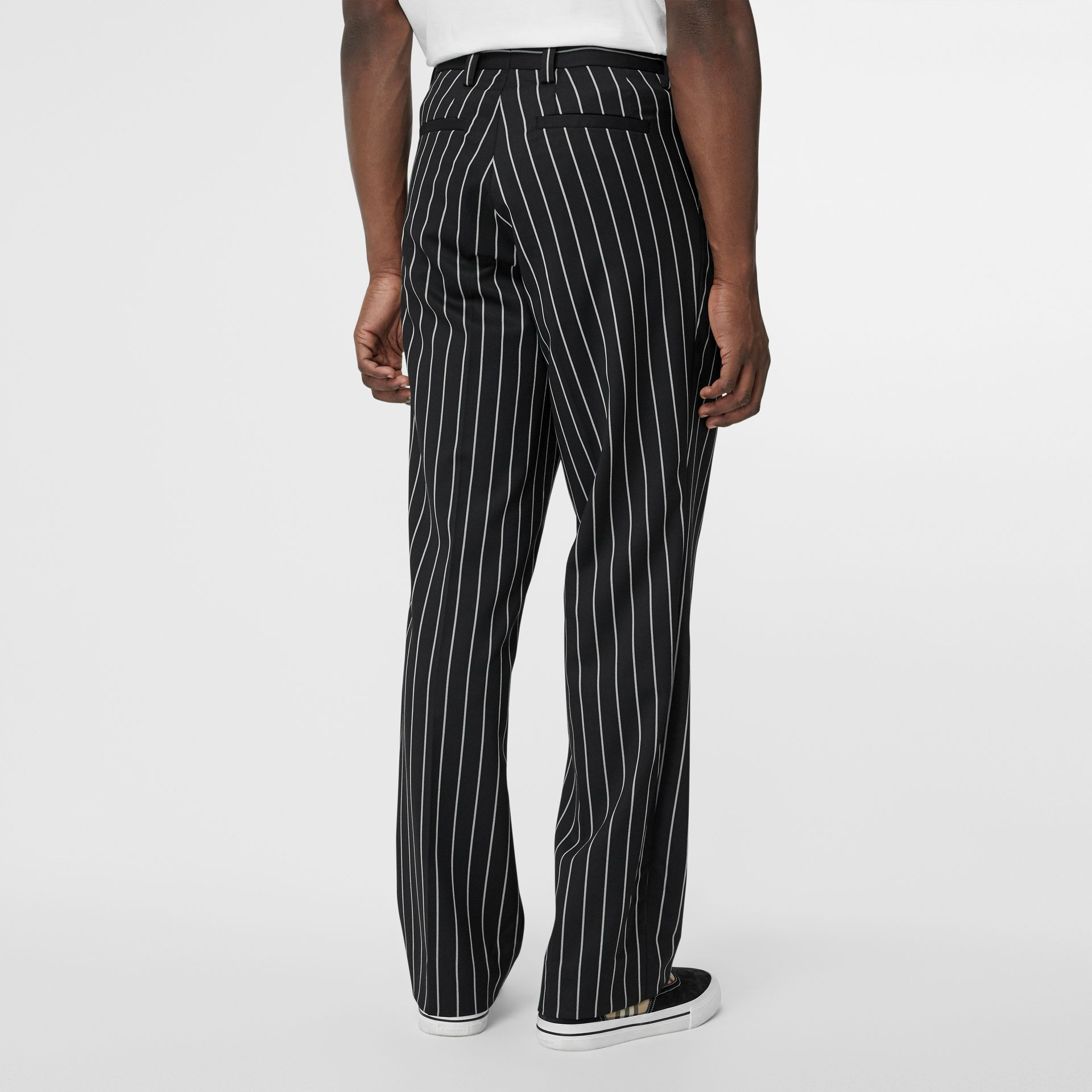 Pinstriped Stretch Wool Wide-leg Tailored Trousers in Black - Men | Burberry - gallery image 2
