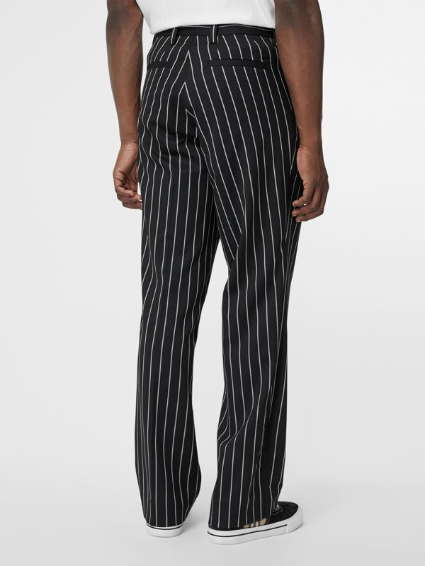 Pinstriped Stretch Wool Wide-leg Tailored Trousers in Black - Men | Burberry Canada - cell image 2