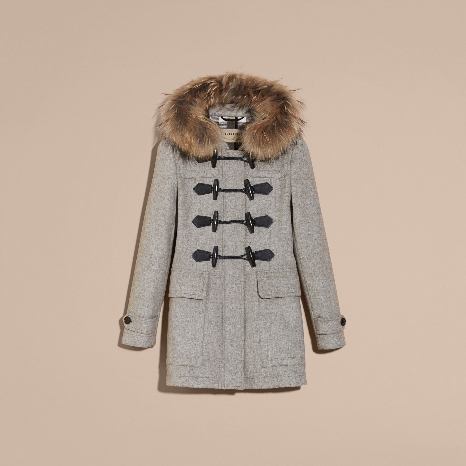Light grey melange Wool Duffle Coat with Detachable Fur Trim - gallery image 4