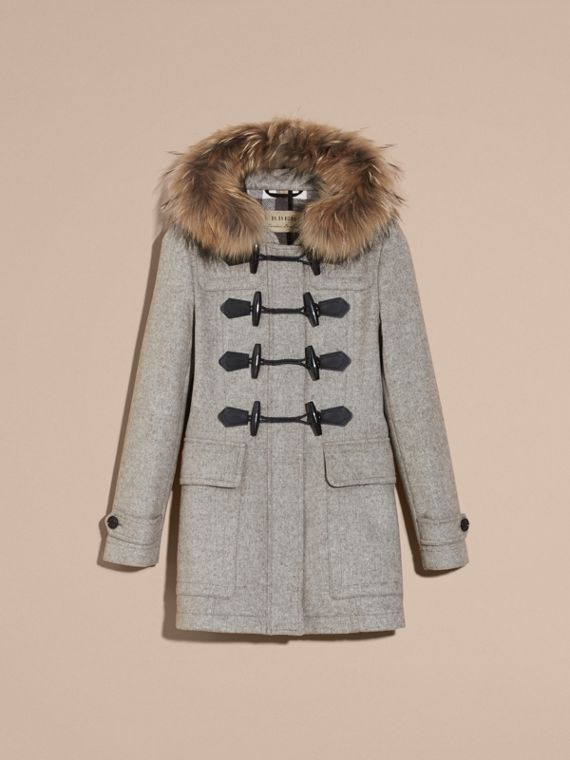 Light grey melange Wool Duffle Coat with Detachable Fur Trim - cell image 3