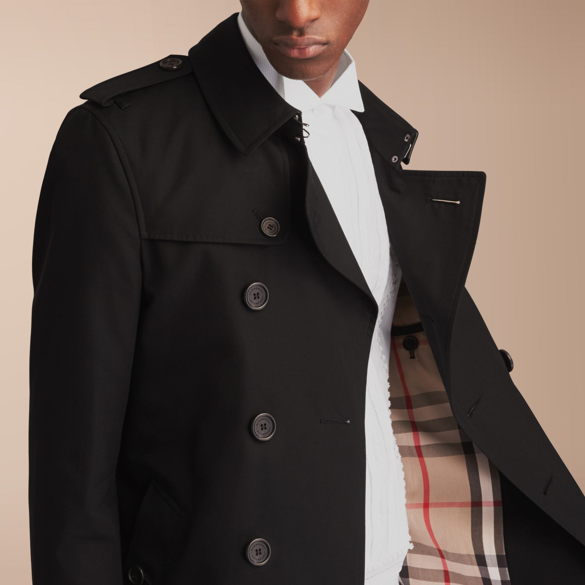 The Chelsea – Short Heritage Trench Coat in Black - gallery image 6