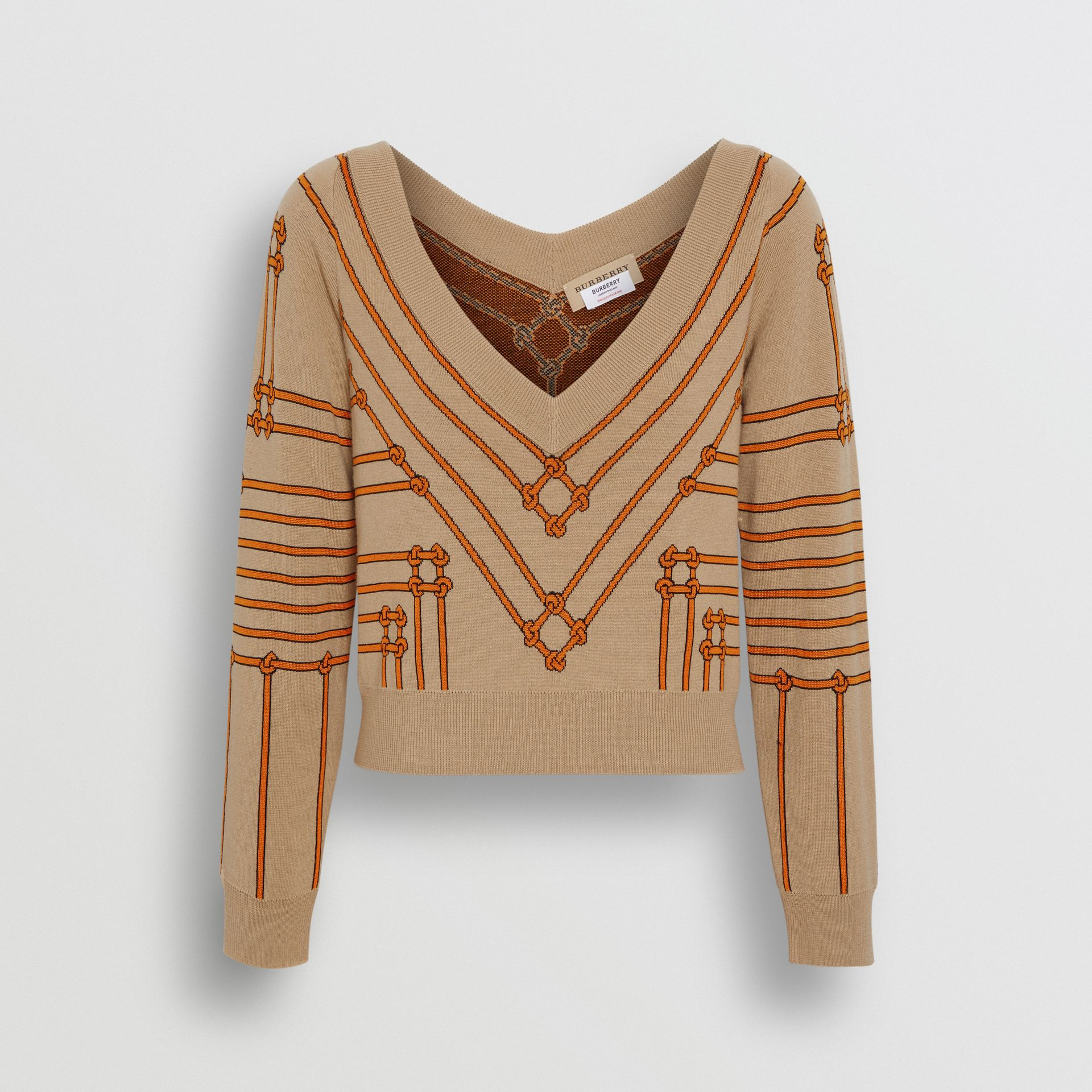 Rope Silk Wool Jacquard V-neck Sweater in Honey - Women | Burberry - gallery image 3